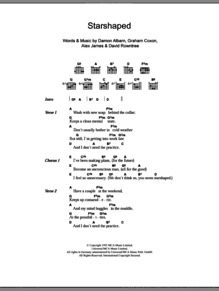 Starshaped sheet music for guitar (chords) by Graham Coxon