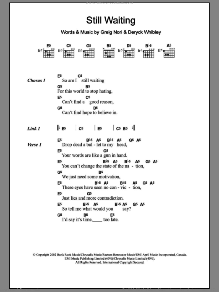 Still Waiting sheet music for guitar (chords) by Greig Nori, Sum 41 and Deryck Whibley. Score Image Preview.