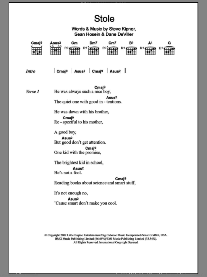 Stole sheet music for guitar (chords) by Kelly Rowland, Dane Deviller, Sean Hosein and Steve Kipner, intermediate
