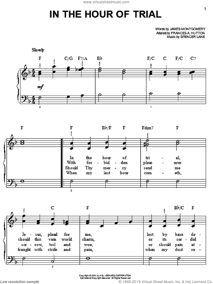 In The Hour Of Trial sheet music for piano solo by James Montgomery, Frances A. Hutton and Spencer Lane, classical score, easy. Score Image Preview.