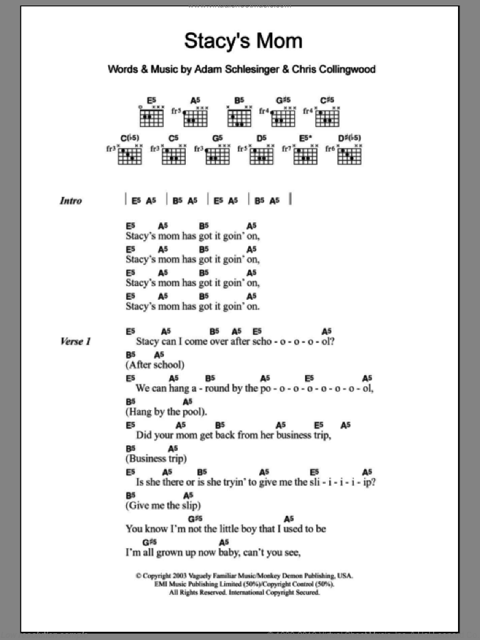 Stacy's Mom sheet music for guitar (chords) by Chris Collingwood, Fountains Of Wayne and Adam Schlesinger. Score Image Preview.