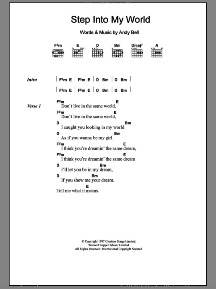 Step Into My World sheet music for guitar (chords) by Andy Bell