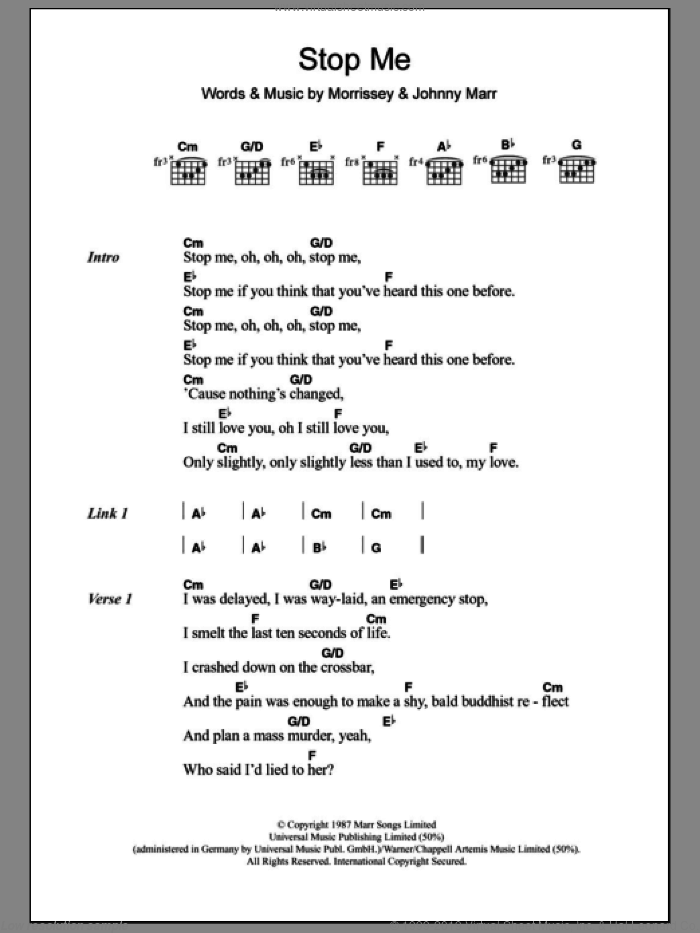 Stop Me If You Think You've Heard This One Before sheet music for guitar (chords) by Steven Morrissey