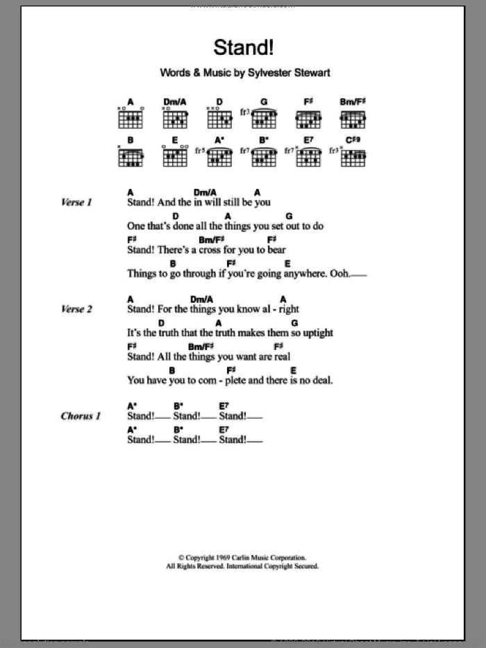 Stand! sheet music for guitar (chords) by Sly And The Family Stone, intermediate. Score Image Preview.