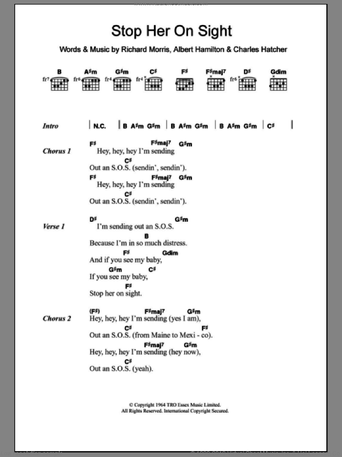Stop Her On Sight sheet music for guitar (chords) by Edwin Starr, Albert Hamilton, Charles Hatcher and Richard Morris, intermediate. Score Image Preview.