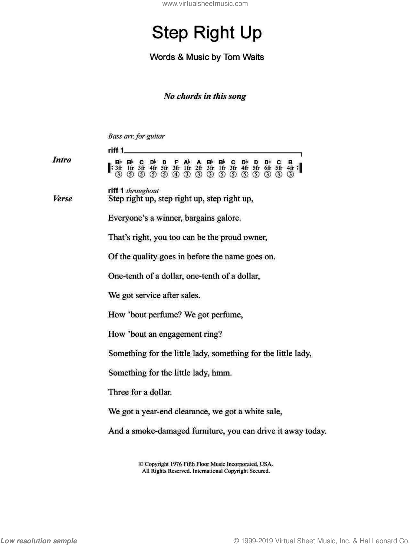 Waits - Step Right Up sheet music for guitar (chords)