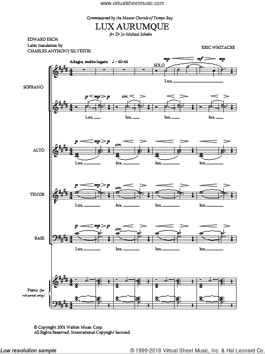 Lux Aurumque sheet music for choir (SATB) by Edward Esch, Charles Anthony Silvestri and Eric Whitacre. Score Image Preview.