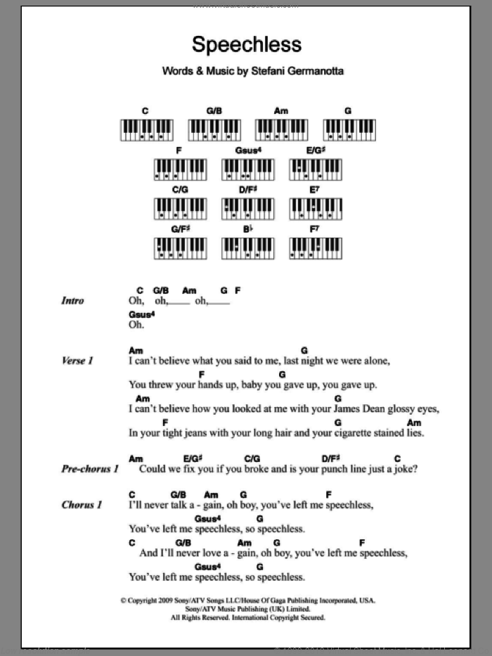 Speechless sheet music for piano solo (chords, lyrics, melody) by Lady Gaga. Score Image Preview.