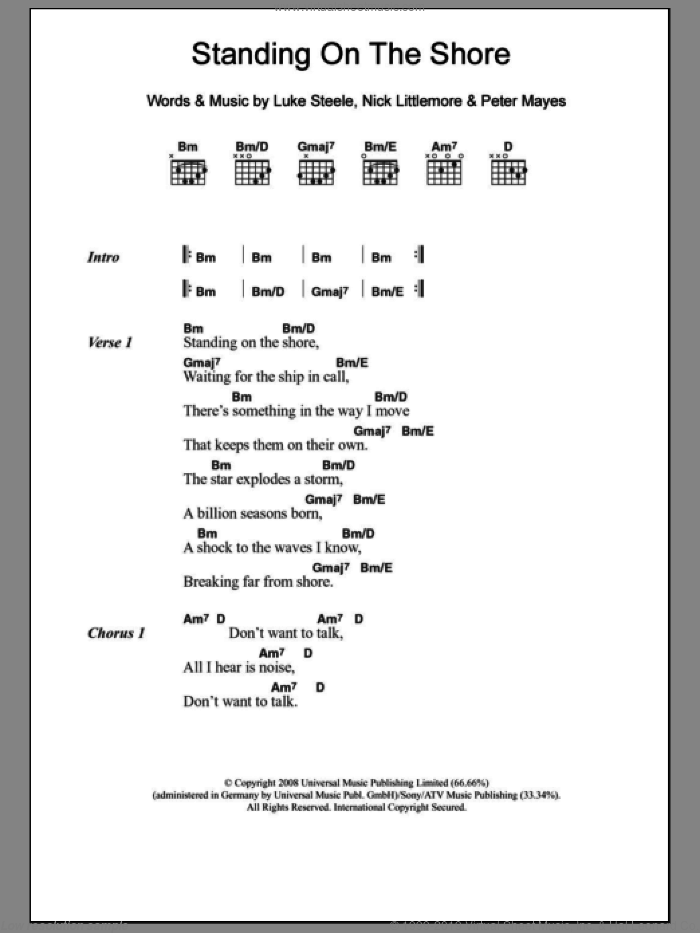 Standing On The Shore sheet music for guitar (chords) by Peter Mayes, Luke Steele and Nick Littlemore. Score Image Preview.