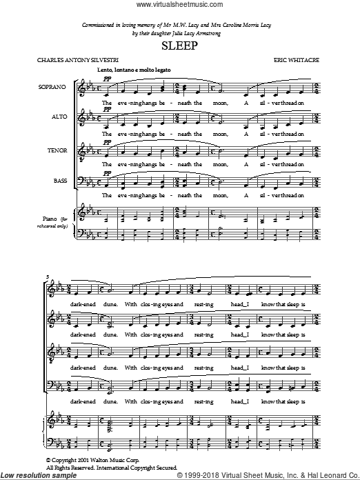 Sleep sheet music for choir (SATB) by Charles Anthony Silvestri and Eric Whitacre. Score Image Preview.