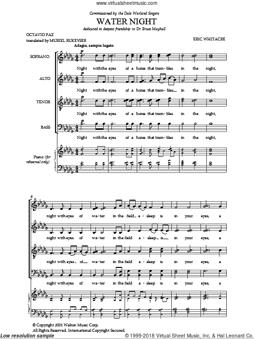 Water Night sheet music for choir (SATB) by Eric Whitacre, intermediate choir (SATB). Score Image Preview.
