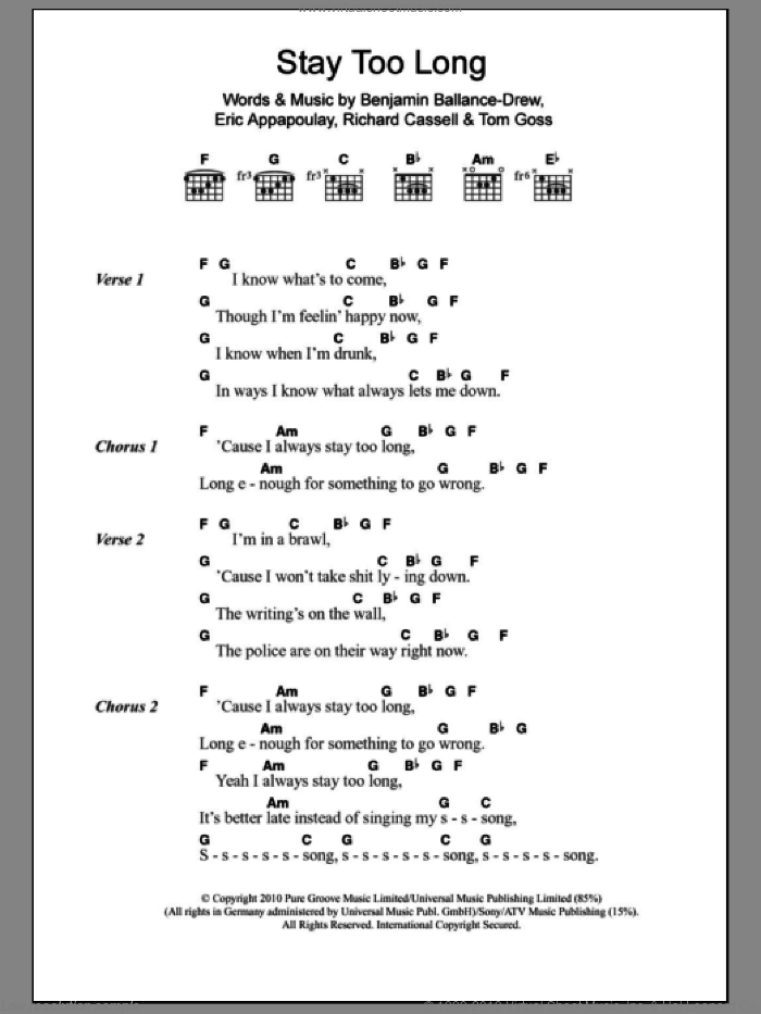 Stay Too Long sheet music for guitar (chords) by Tom Goss. Score Image Preview.