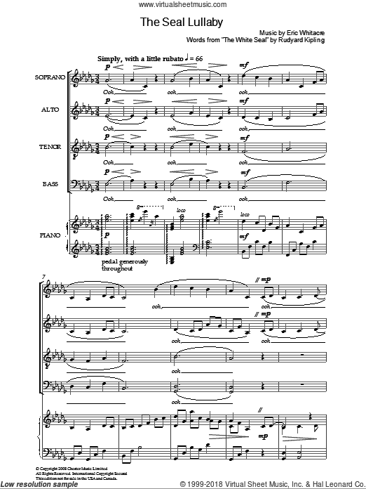 The Seal Lullaby sheet music for choir (SATB: soprano, alto, tenor, bass) by Eric Whitacre, intermediate. Score Image Preview.
