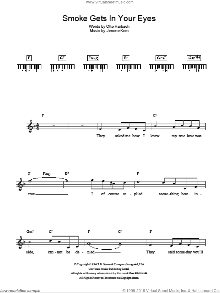 Smoke Gets In Your Eyes sheet music for piano solo (chords, lyrics, melody) by Jerome Kern and Otto Harbach, intermediate piano (chords, lyrics, melody)