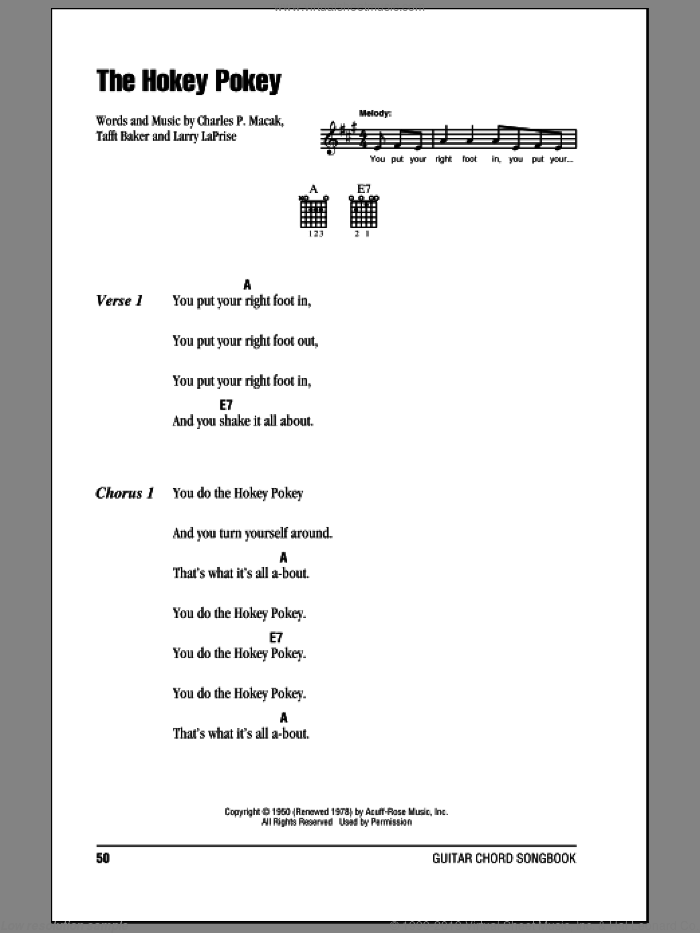 The Hokey Pokey sheet music for guitar (chords) by Richard Thompson, Charles P. Macak, Larry LaPrise and Tafft Baker. Score Image Preview.