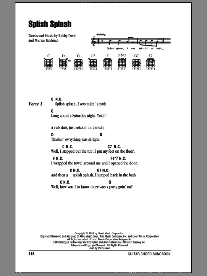 Splish Splash sheet music for guitar (chords) by Murray Kaufman and Bobby Darin. Score Image Preview.