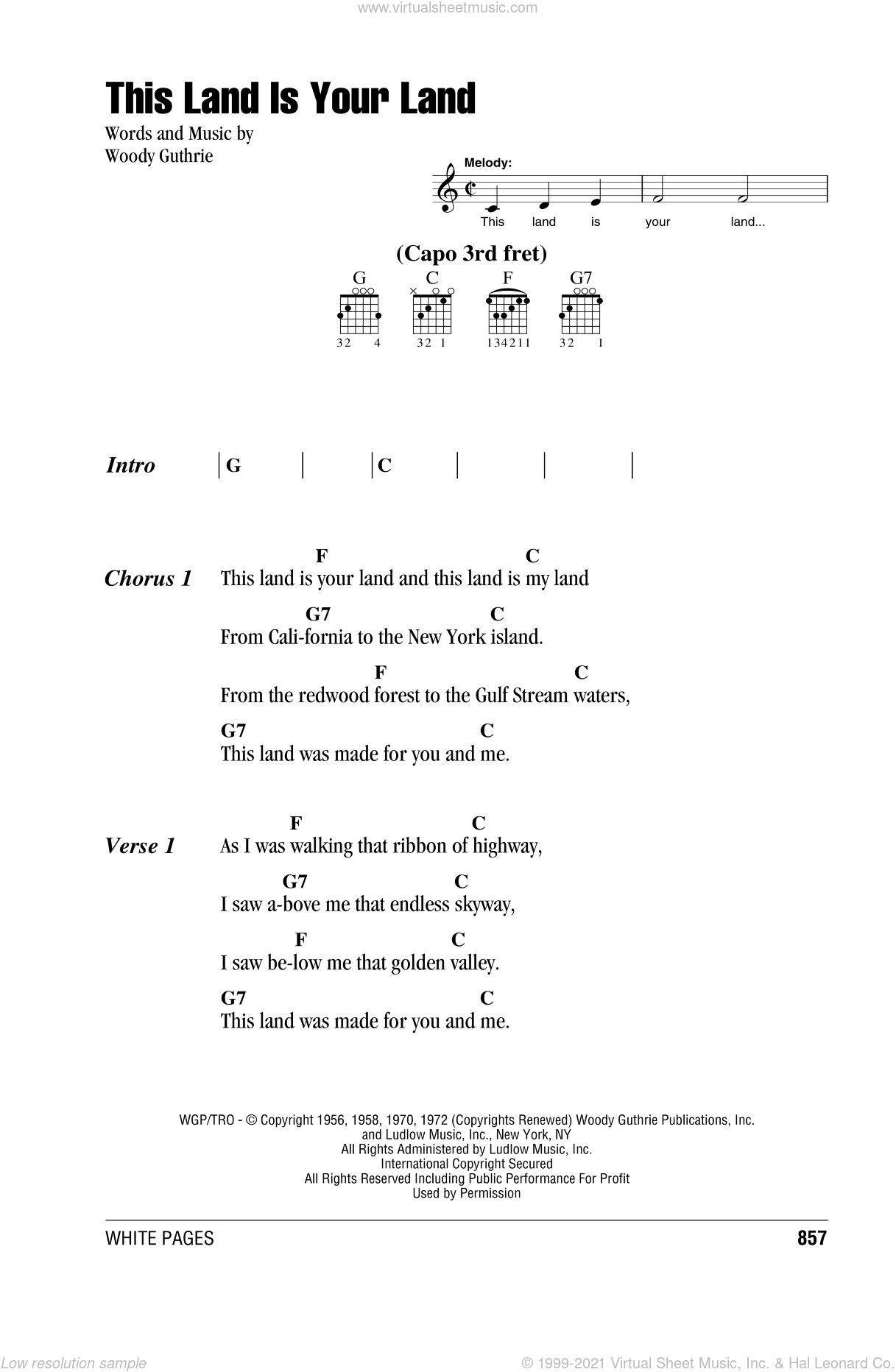 This Land Is Your Land sheet music for guitar (chords) by Woody Guthrie. Score Image Preview.