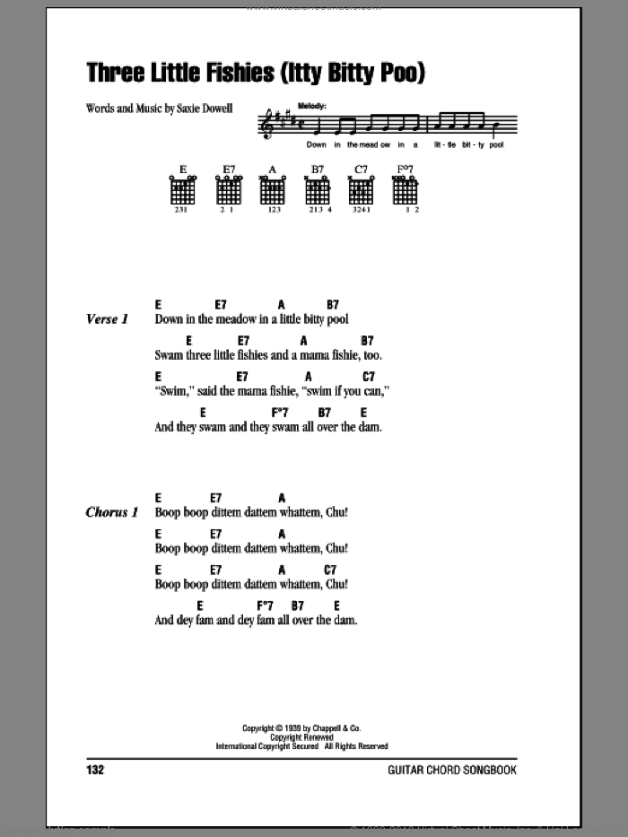 Three Little Fishies (Itty Bitty Poo) sheet music for guitar (chords) by Saxie Dowell