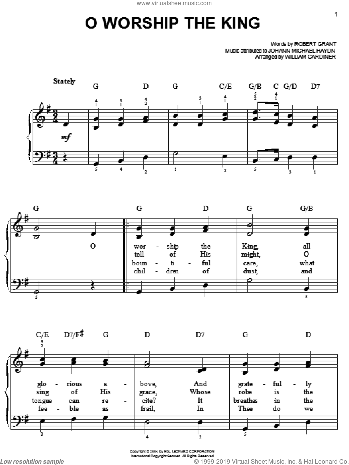 O Worship The King sheet music for piano solo by Robert Grant, Johann Michael Haydn and William Gardiner, easy skill level