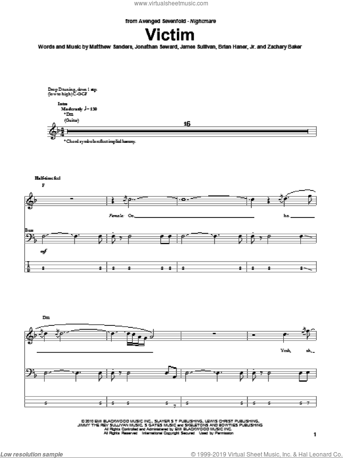 Victim sheet music for bass (tablature) (bass guitar) by Avenged Sevenfold, intermediate bass (tablature) (bass guitar). Score Image Preview.