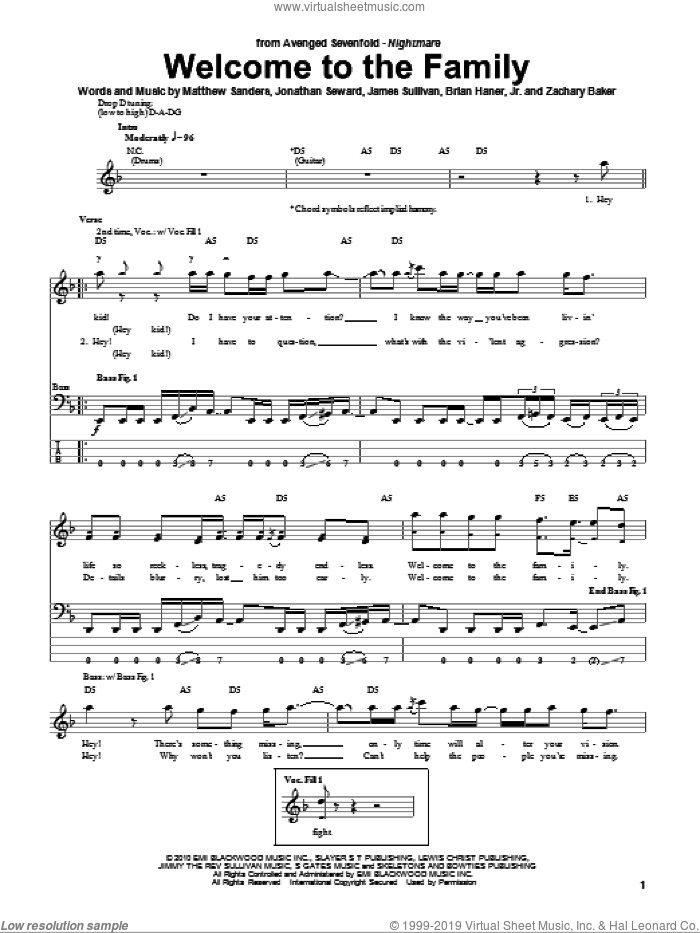 Welcome To The Family sheet music for bass (tablature) (bass guitar) by Avenged Sevenfold, intermediate. Score Image Preview.