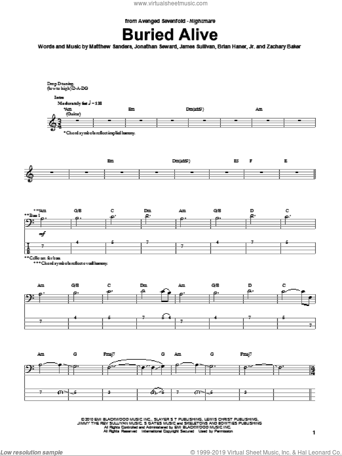 Buried Alive sheet music for bass (tablature) (bass guitar) by Zachary Baker and Avenged Sevenfold. Score Image Preview.
