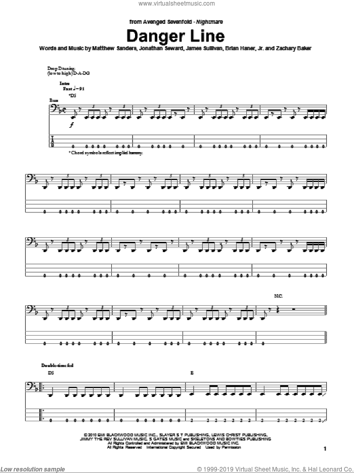 Danger Line sheet music for bass (tablature) (bass guitar) by Zachary Baker and Avenged Sevenfold. Score Image Preview.