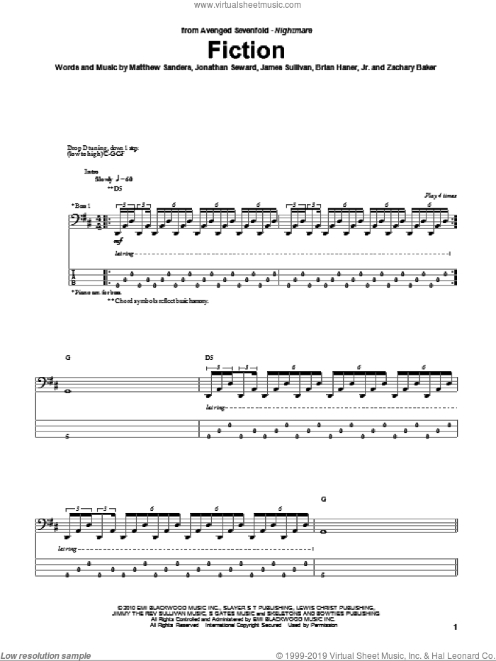 Fiction sheet music for bass (tablature) (bass guitar) by Avenged Sevenfold, intermediate bass (tablature) (bass guitar). Score Image Preview.