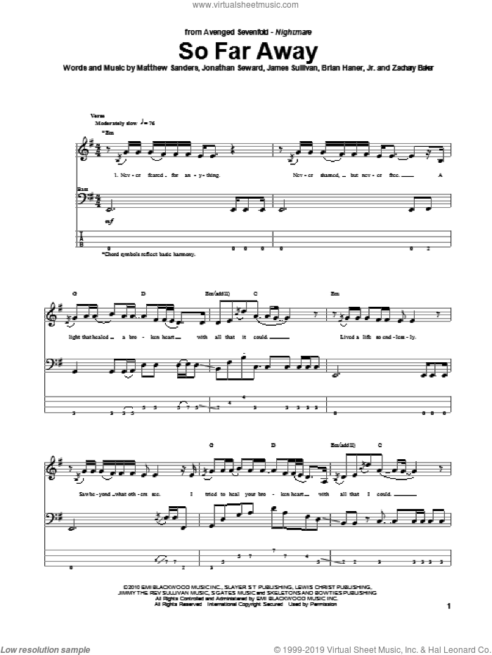 So Far Away sheet music for bass (tablature) (bass guitar) by Zachary Baker and Avenged Sevenfold. Score Image Preview.