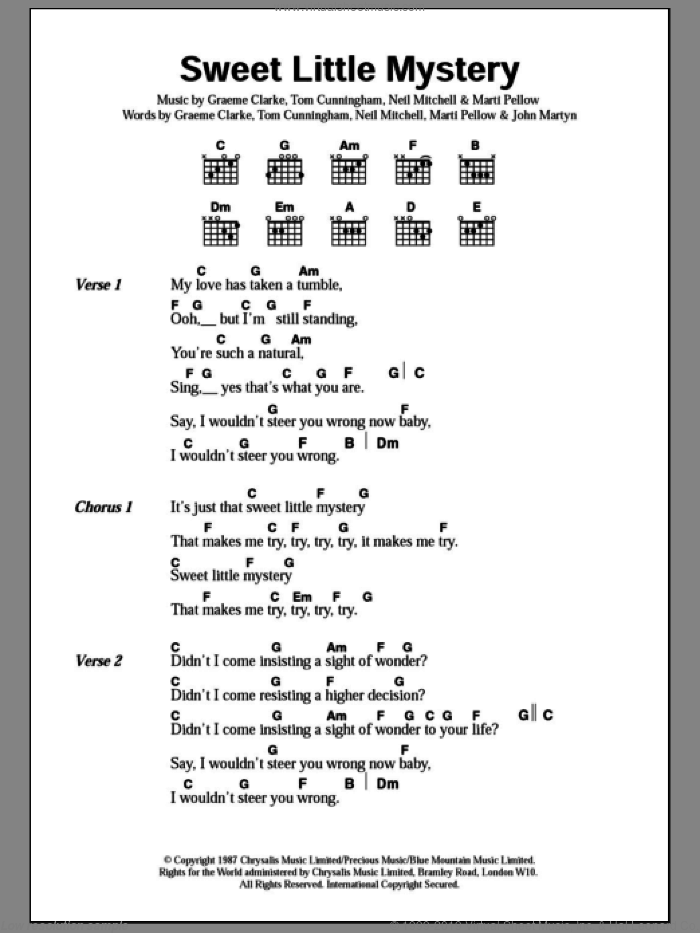 Sweet Little Mystery sheet music for guitar (chords) by Wet Wet Wet, CLARK, CLARKE, Cunningham, John Martyn, Pellow and Willie Mitchell, intermediate skill level