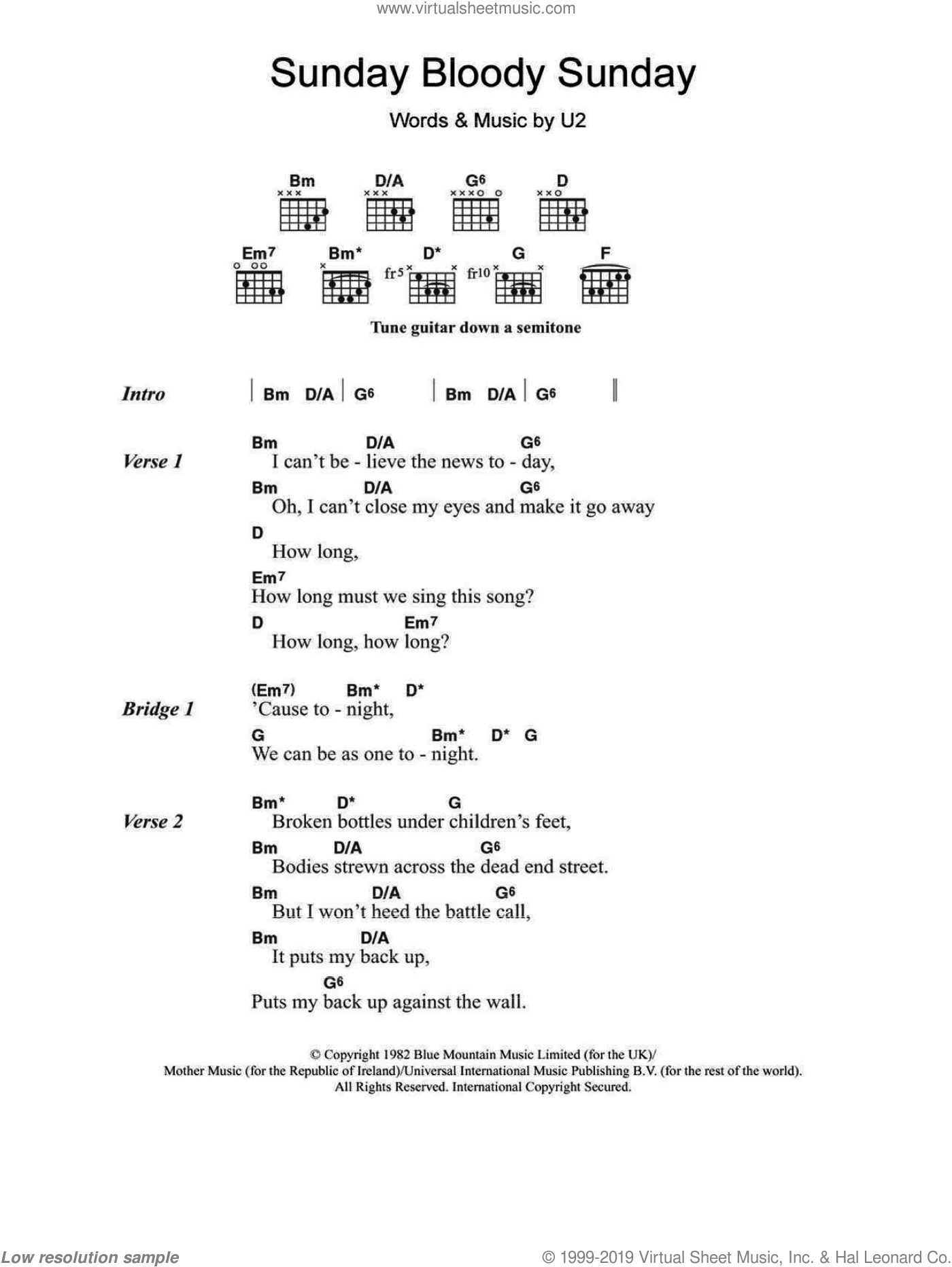 Sunday Bloody Sunday sheet music for guitar (chords) by U2, intermediate skill level