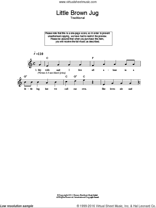 Little Brown Jug sheet music for voice and other instruments (fake book) by Joseph E. Winner