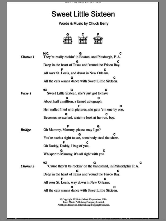 Sweet Little Sixteen sheet music for guitar (chords) by Chuck Berry. Score Image Preview.