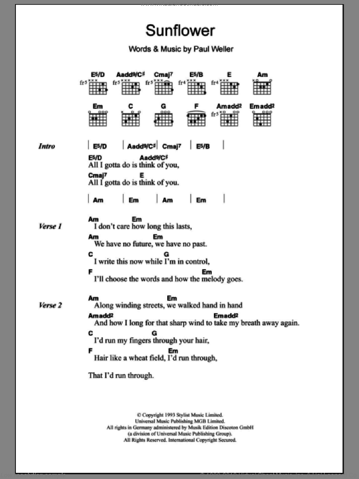 Sunflower sheet music for guitar (chords) by Paul Weller. Score Image Preview.