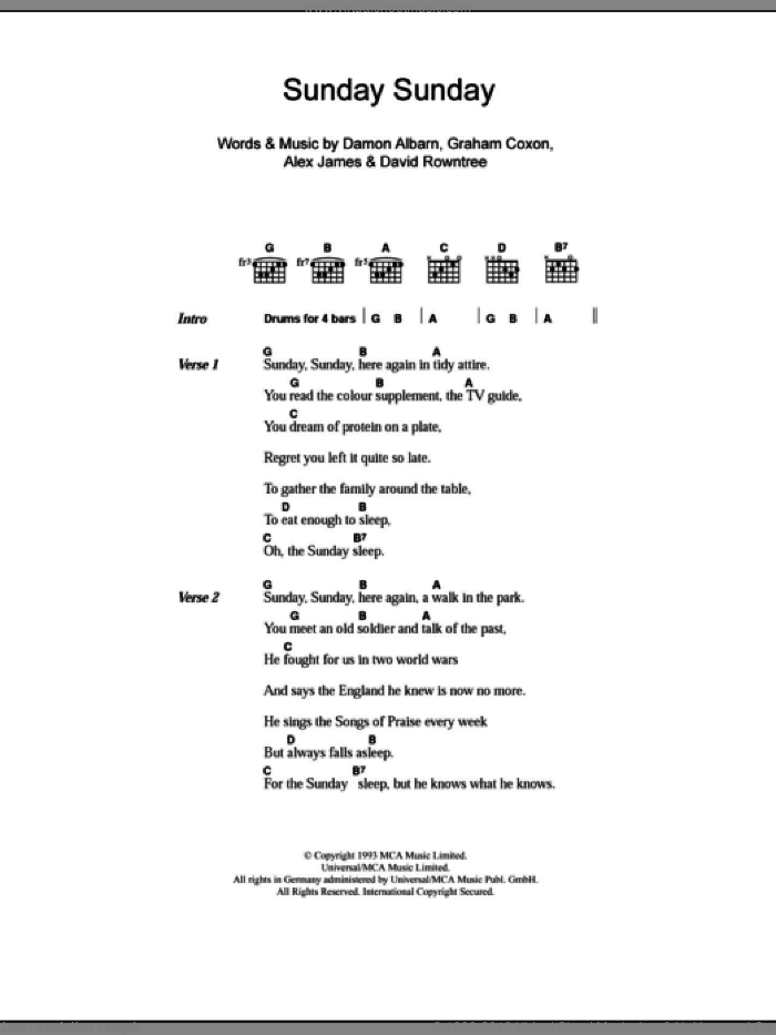 Sunday Sunday sheet music for guitar (chords) by Graham Coxon, Blur, Alex James and Damon Albarn