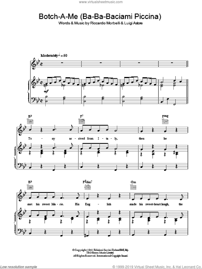Botch-A-Me (Ba-Ba-Baciami Piccina) sheet music for voice, piano or guitar by Riccardo Morbelli and Rosemary Clooney. Score Image Preview.