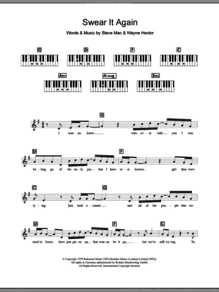 Swear It Again sheet music for piano solo (chords, lyrics, melody) by Westlife, Steve Mac and Wayne Hector, intermediate piano (chords, lyrics, melody)