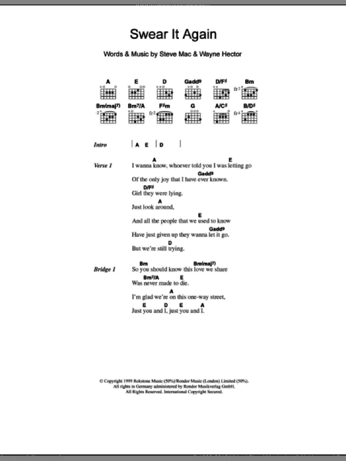 Swear It Again sheet music for guitar (chords) by Westlife, Steve Mac and Wayne Hector, intermediate skill level