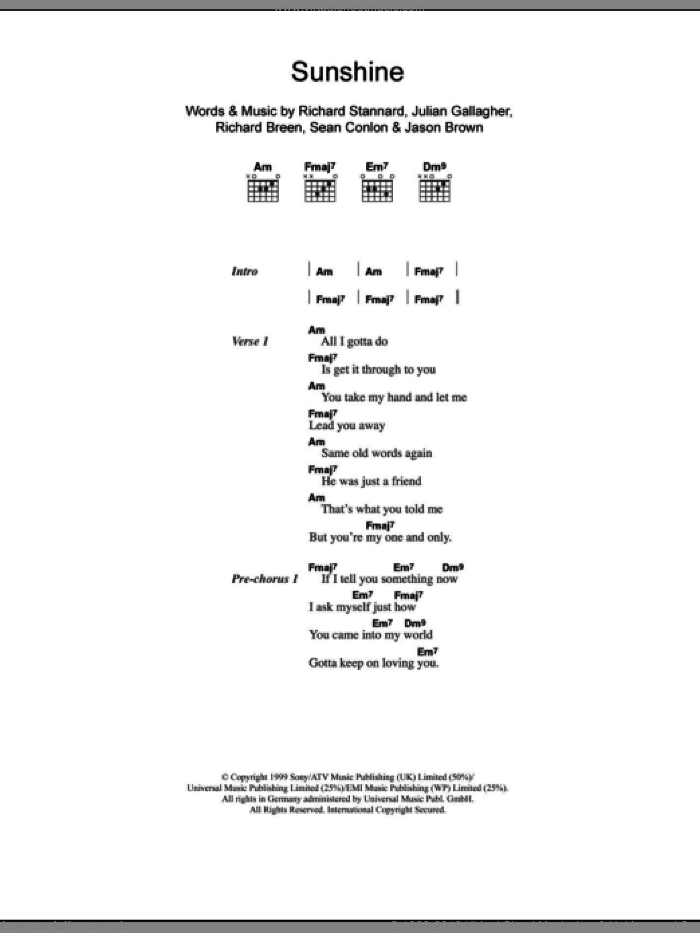 Sunshine sheet music for guitar (chords) by Sean Conlon