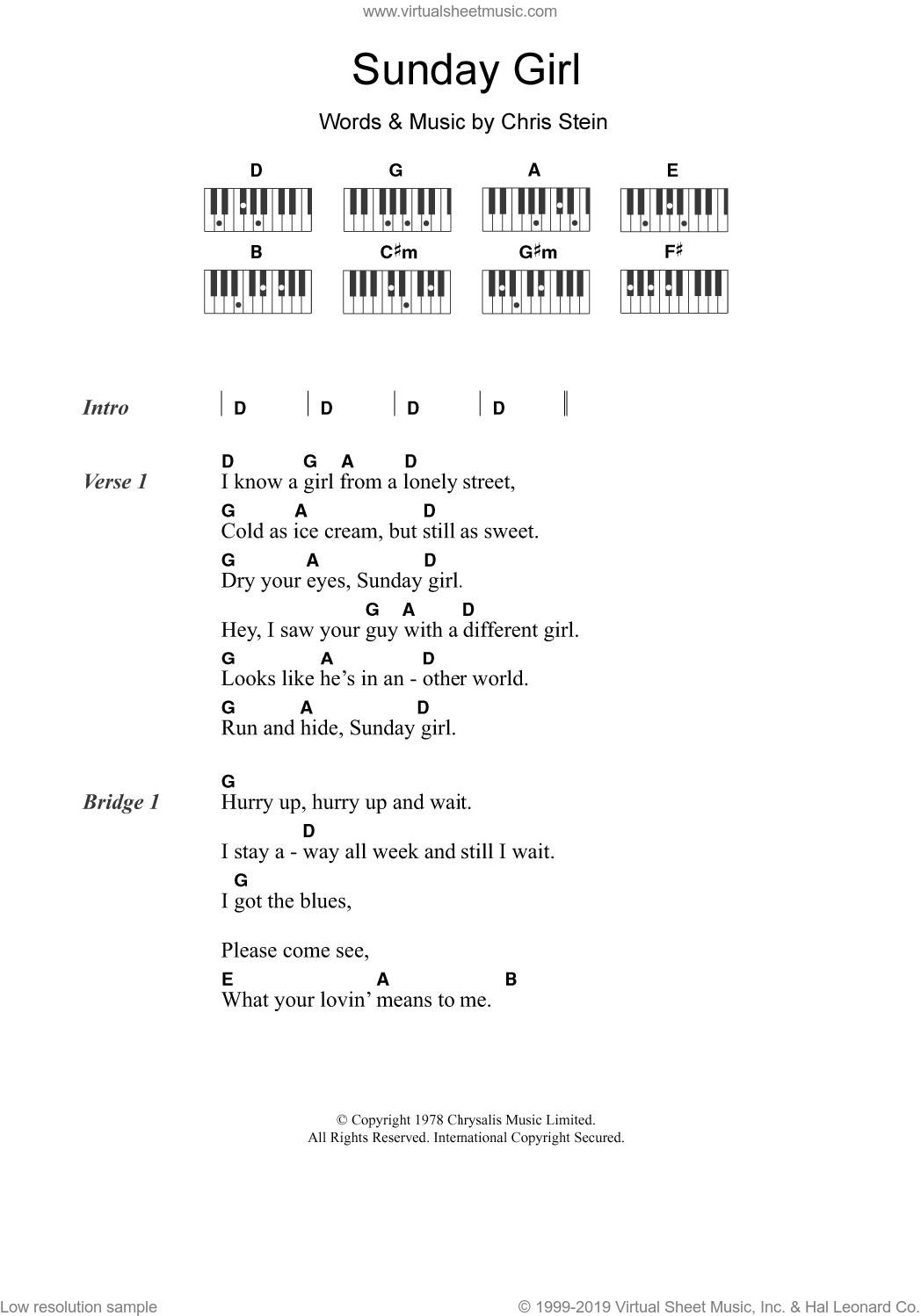 Sunday Girl sheet music for piano solo (chords, lyrics, melody) by Blondie and Chris Stein, intermediate piano (chords, lyrics, melody)