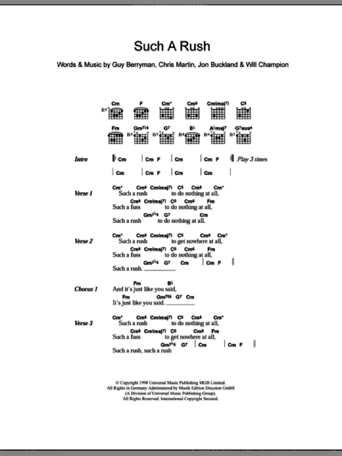 Such A Rush sheet music for guitar (chords) by Will Champion, Coldplay, Chris Martin, Guy Berryman and Jon Buckland. Score Image Preview.