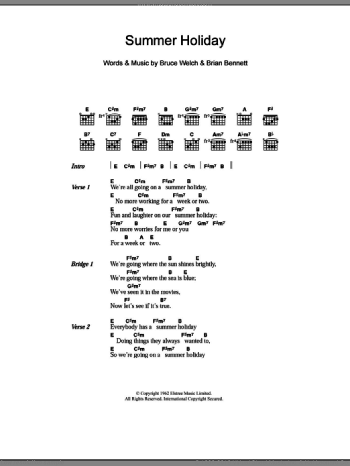 Summer Holiday sheet music for guitar (chords) by Bruce Welch, Cliff Richard and Brian Bennett. Score Image Preview.
