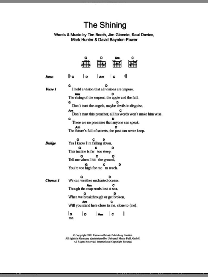 The Shining sheet music for guitar (chords) by Tim Booth