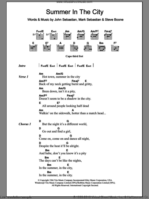 Summer In The City sheet music for guitar (chords, lyrics, melody) by Steve Boone