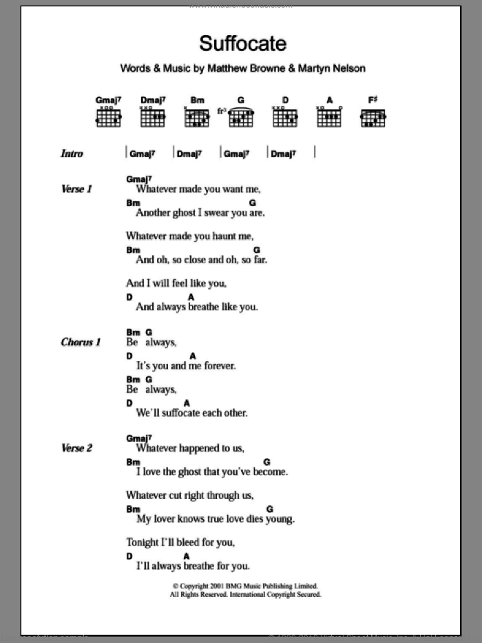 Suffocate sheet music for guitar (chords) by King Adora. Score Image Preview.