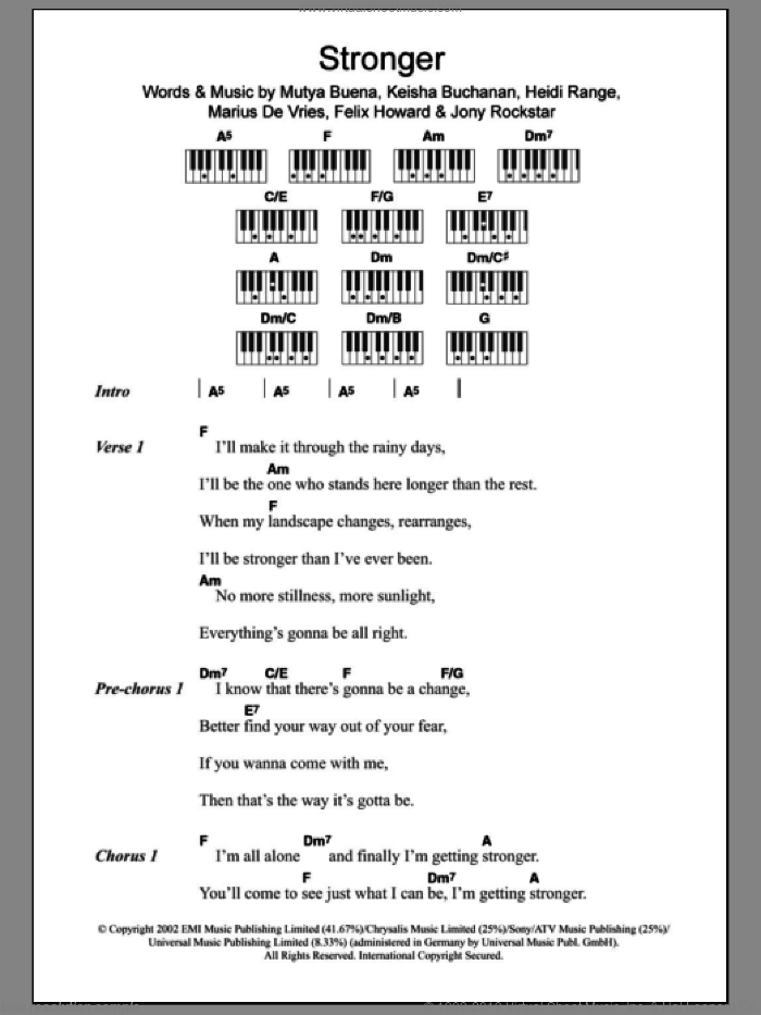 Stronger sheet music for piano solo (chords, lyrics, melody) by Mutya Buena, Sugababes, Felix Howard and Marius De Vries. Score Image Preview.