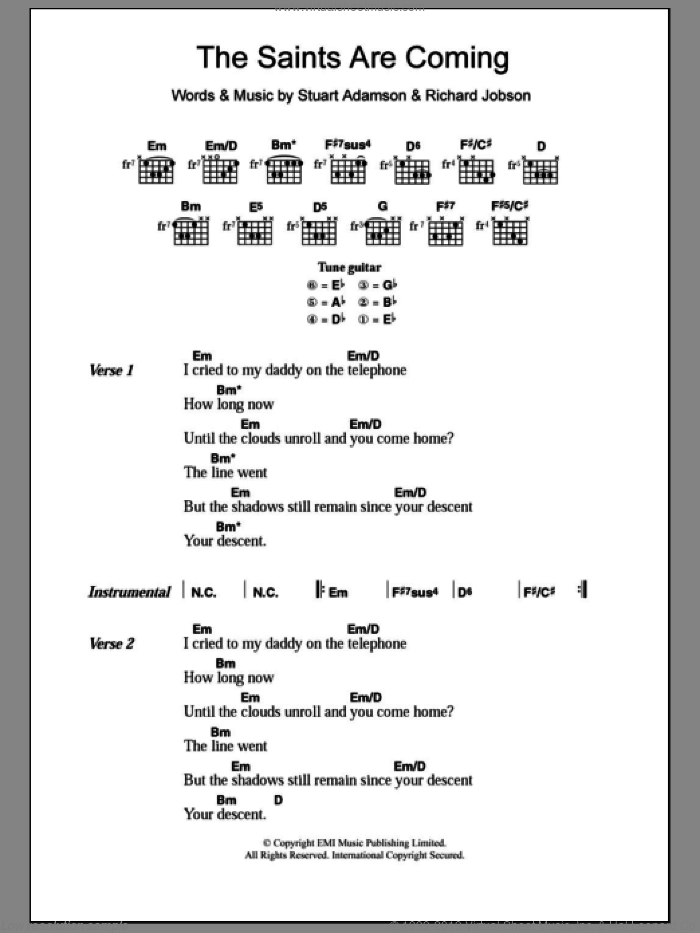 The Saints Are Coming sheet music for guitar (chords) by Stuart Adamson. Score Image Preview.