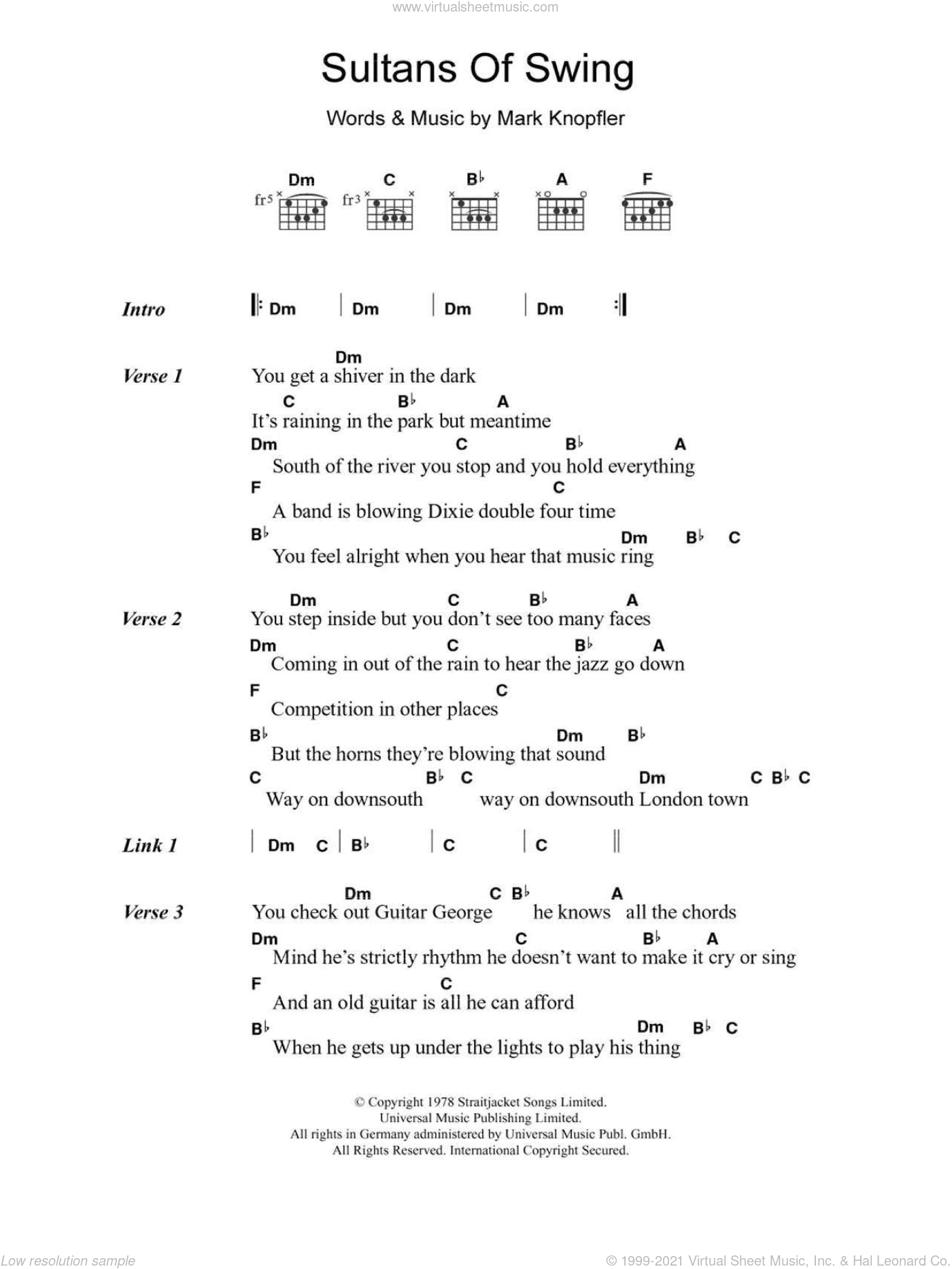 Sultans Of Swing sheet music for guitar (chords) by Mark Knopfler and Dire Straits. Score Image Preview.
