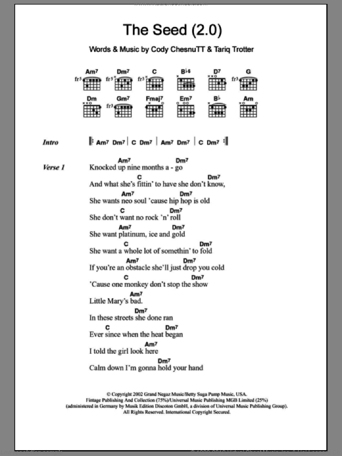The Seed (2.0) sheet music for guitar (chords) by The Roots, intermediate guitar (chords). Score Image Preview.