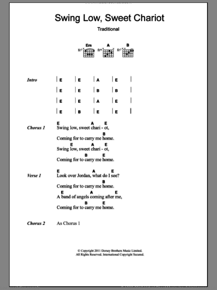Swing Low, Sweet Chariot sheet music for guitar (chords) by Eric Clapton and Miscellaneous, intermediate skill level